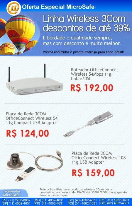 Banner 3Com Wireless desconto 39 off