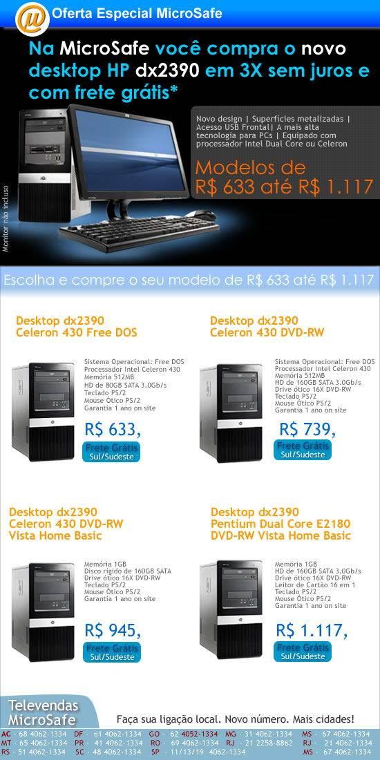 Compre na MicroSafe o novo desktop HP dx2390