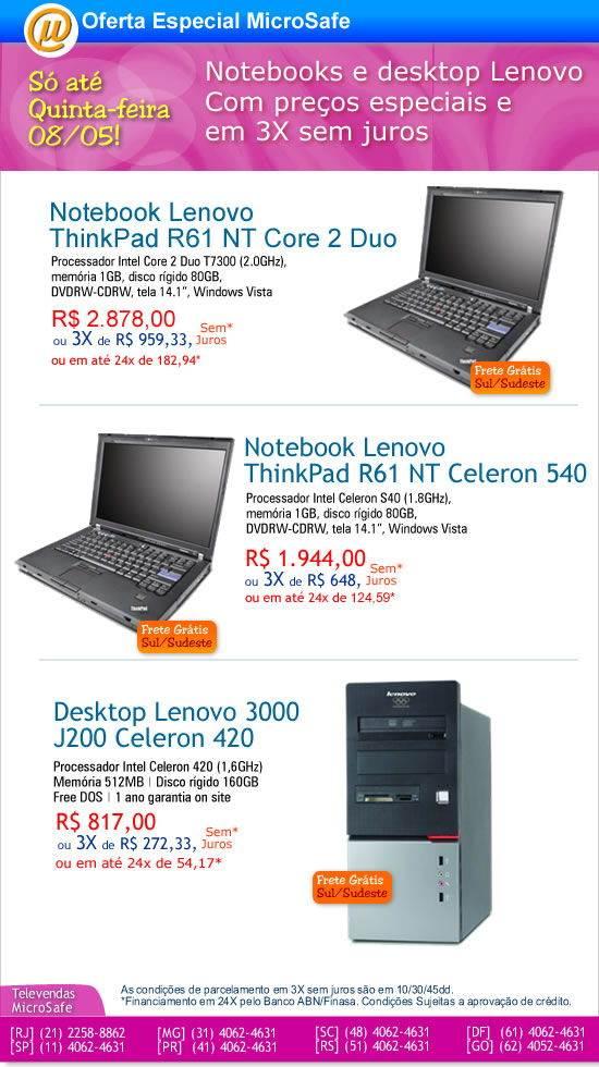 Notebooks e desktop em condições especiais na MicroSafe