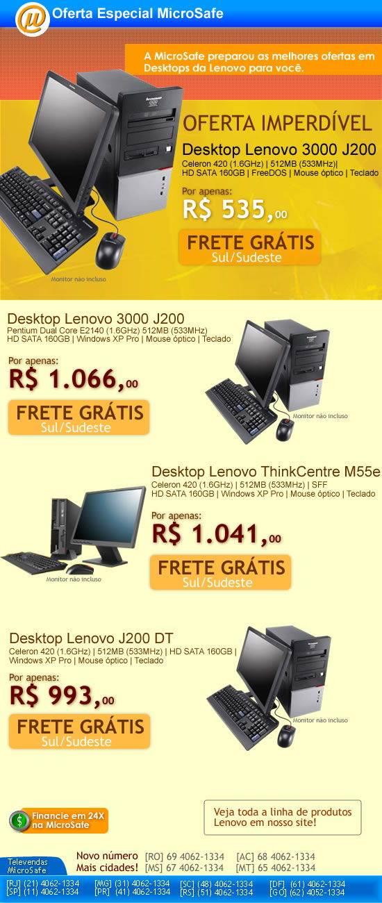 Na MicroSafe desktop Lenovo por apenas R$ 535,