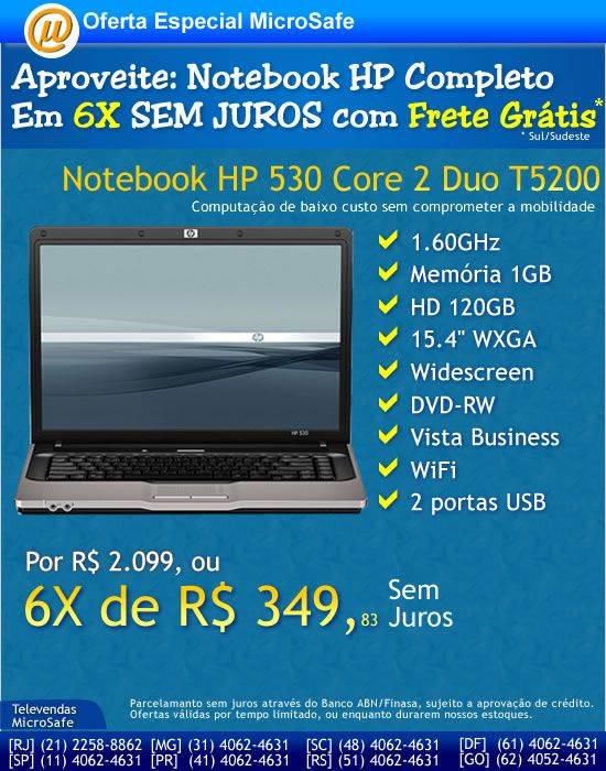 Na MicroSafe Notebook HP em 6X sem juros