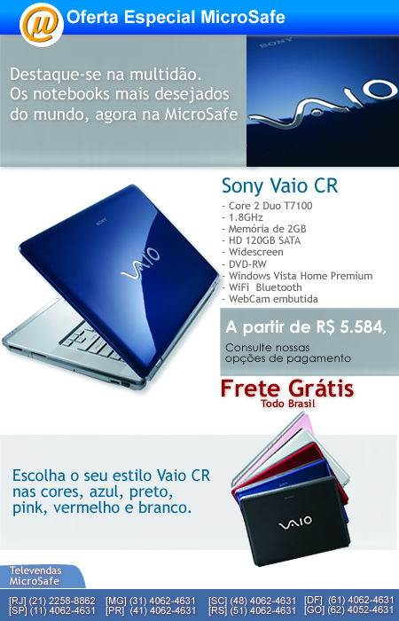 Novos notebooks Vaio CR Sony