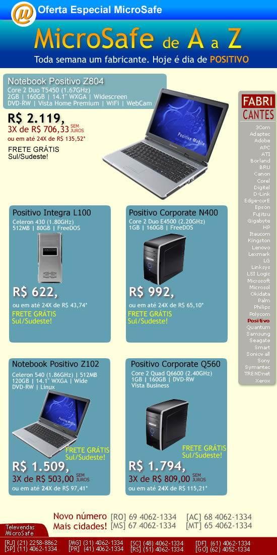 Notebooks e desktops Positivo na MicroSafe