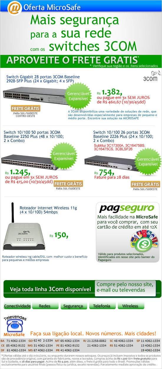 Compre seu switch 3com na MicroSafe!