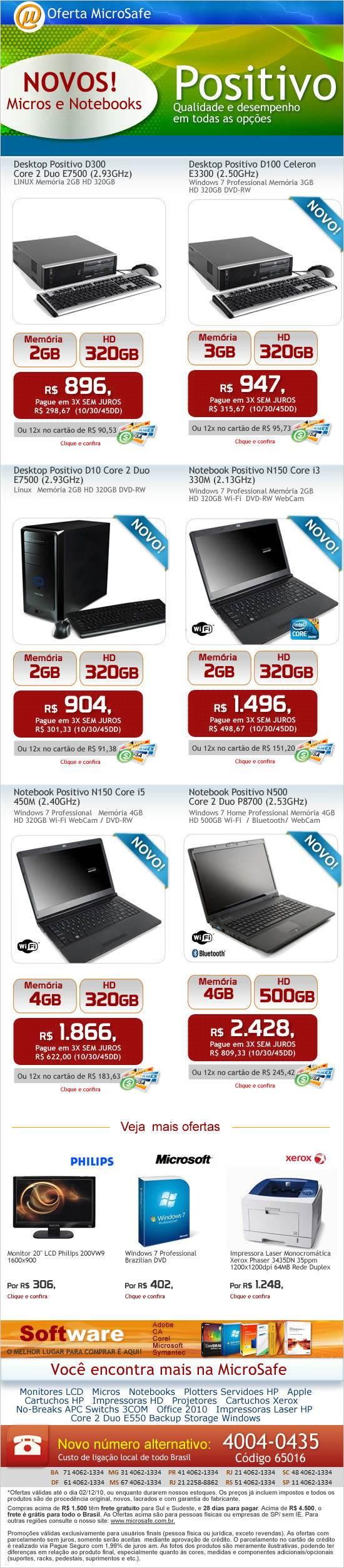 Novos Micros e notebooks POSITIVO na MicroSafe!