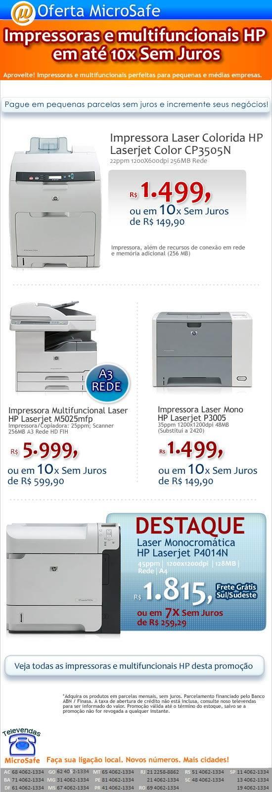 Impressoras e Multifuncionais HP em 10X Sem Juros