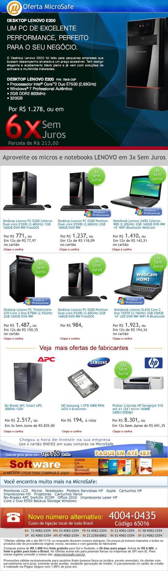 desktop Lenovo core 2 duo apenas R$ 1.278 em 6x sem juros