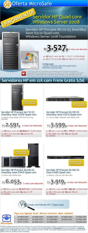 Servidor HP Quad-core com Windows Server 2008