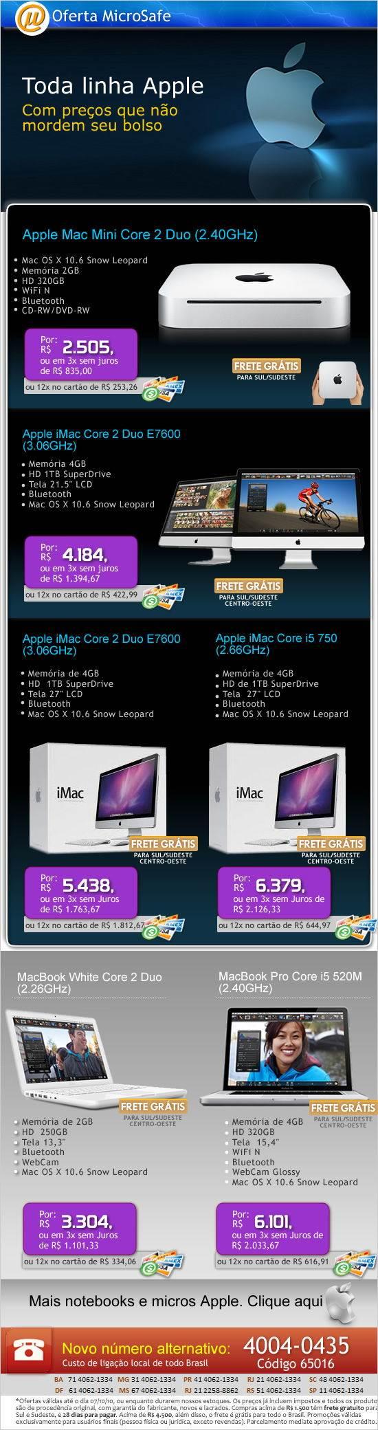 Novos micros e notebooks Apple em 12X na MicroSafe!