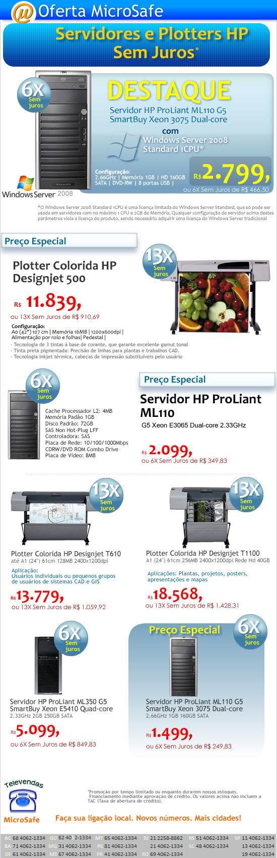 servidores e Plotters HP Sem Juros