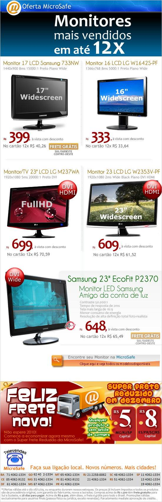 Monitores LCD em 12x!