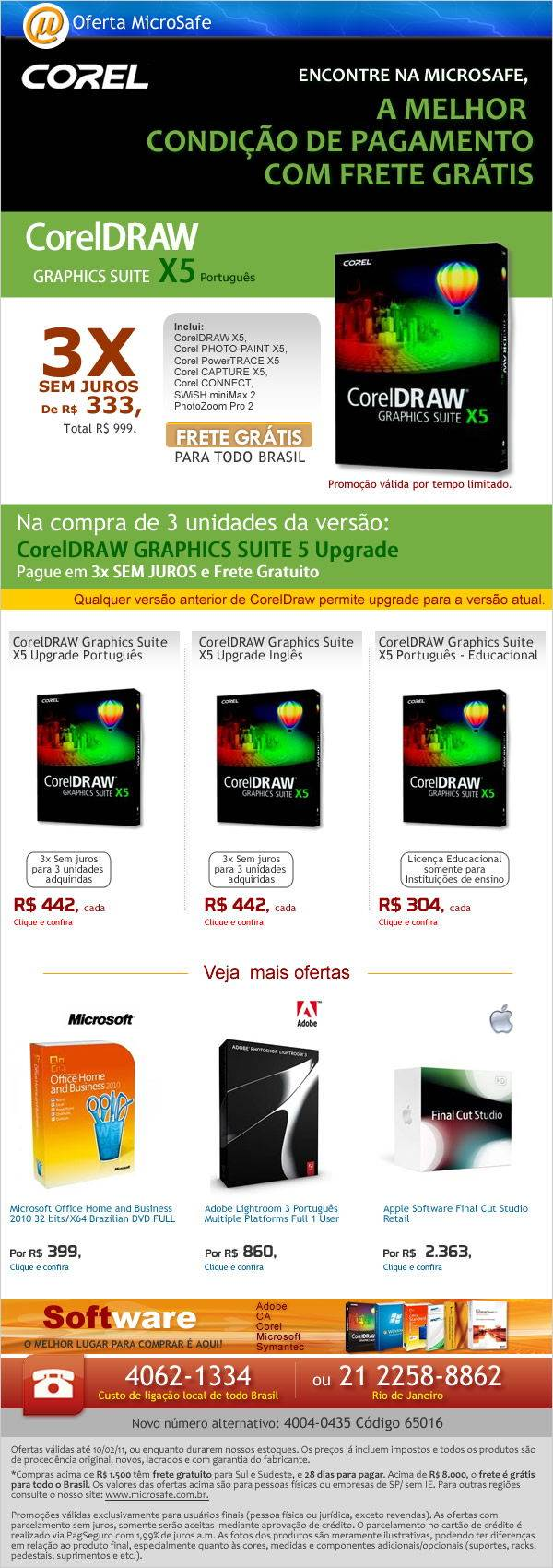 Na MicroSafe - CorelDRAW X5 em 3x Sem Juros e Frete Gr�tis para todo Brasil!