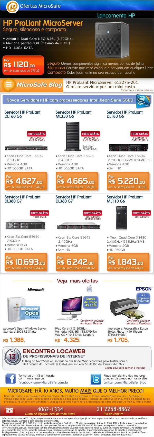 Novos servidores HP na MicroSafe!