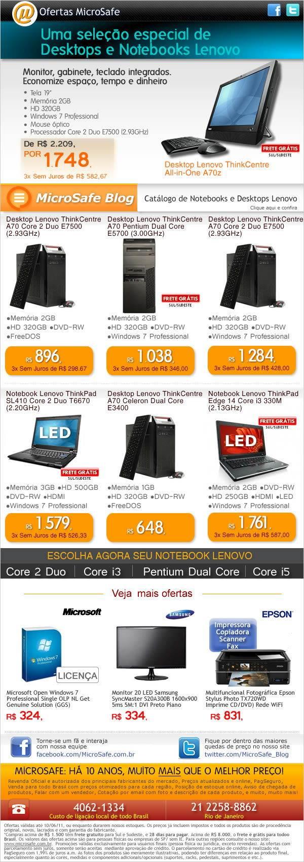 Uma selecao de desktops e notebooks Lenovo