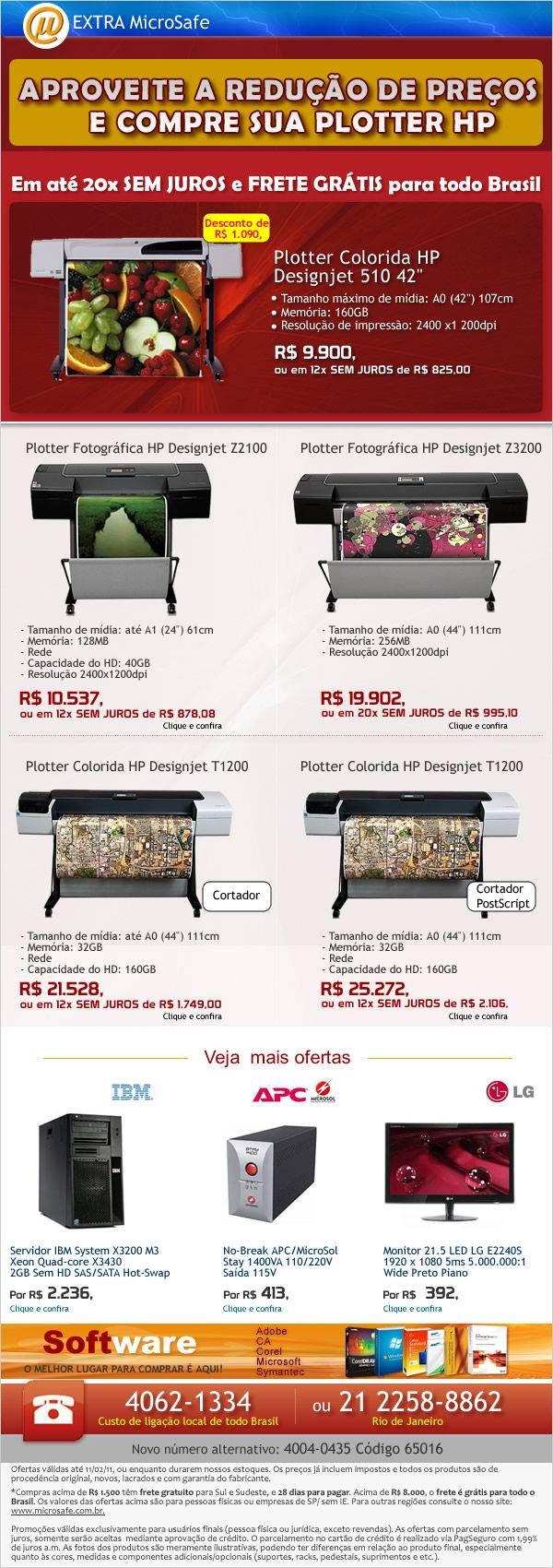 Na MicroSafe: Redução de preços em Plotters HP!