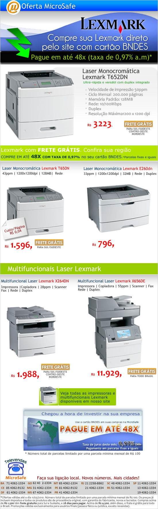 Compre sua Lexmark e pague em 48x no cartão BNDES