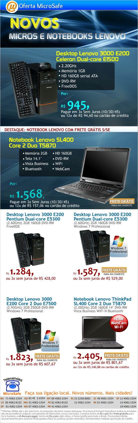 Novos micros e notebooks Lenovo na MicroSafe!