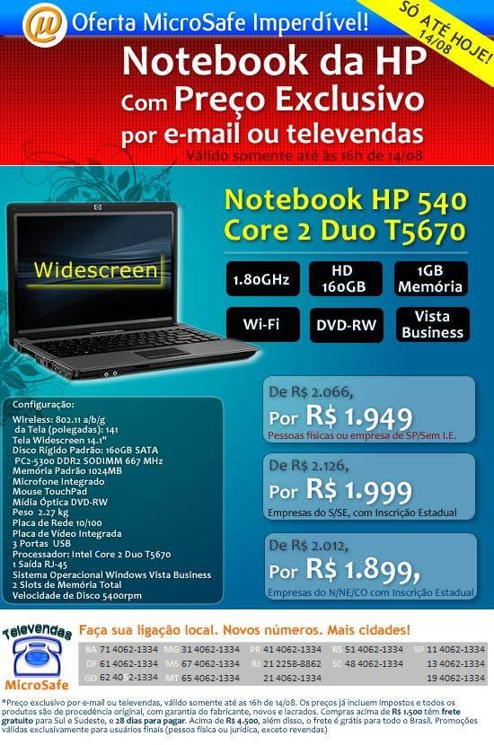 [EXTRA] SÓ ATÉ AMANHÃ: Notebook HP Core 2 Duo por menos de R$ 2000!