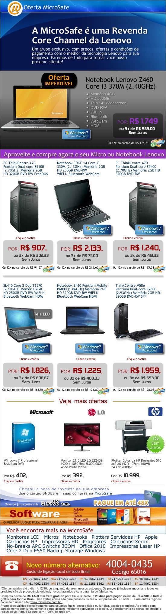 Preços especiais em notebooks e micros Lenovo na MicroSafe!