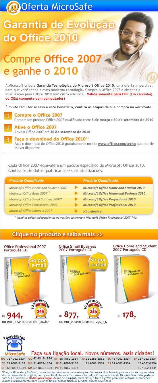 Compre Office 2007 e ganhe o 2010!