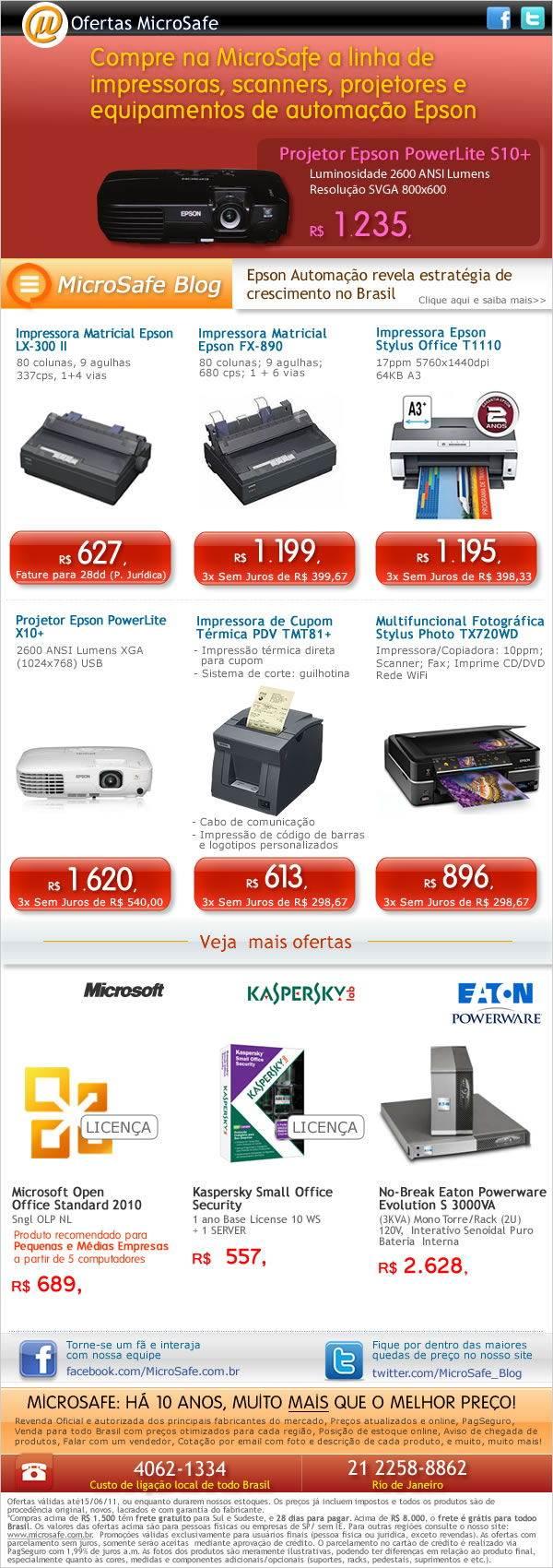 Compre a linha de impressoras, projetores e equipamentos de automação da Epson na MicroSafe!