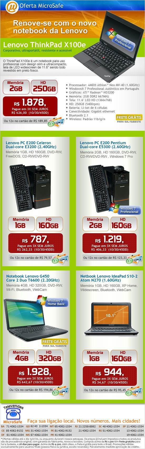 Novo notebook Lenovo ThinkPad X100e