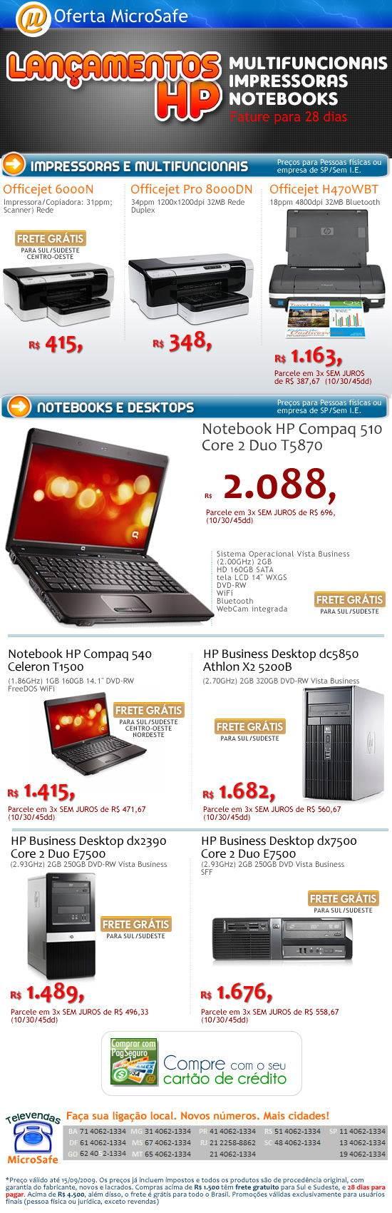 Lan�amentos HP em Impressoras Desktops e Notebooks!