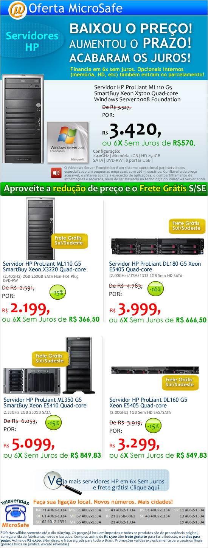 Redução de preços nos servidores HP!