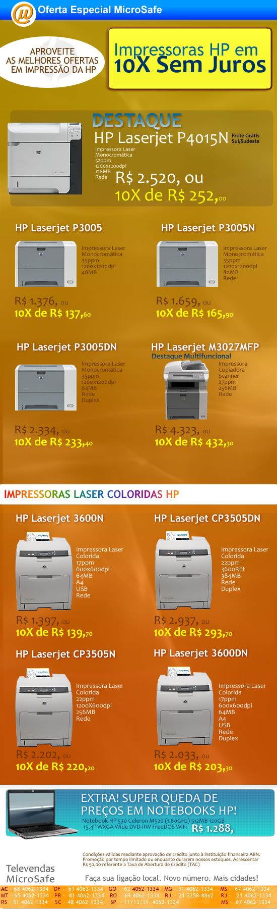 Impressoras HP na MicroSafe em 10X sem Juros