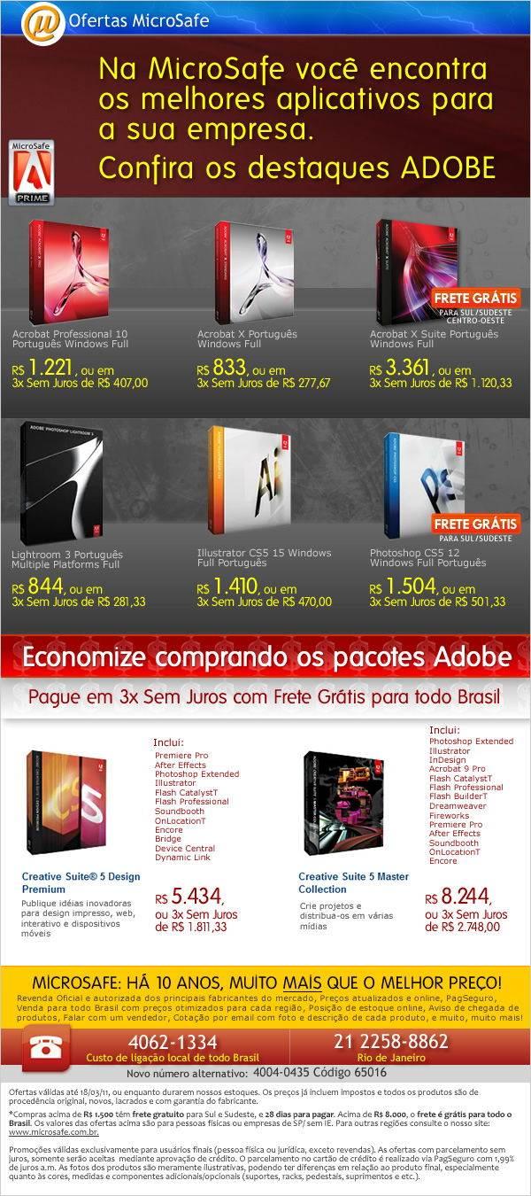 Ofertas Adobe na MicroSafe