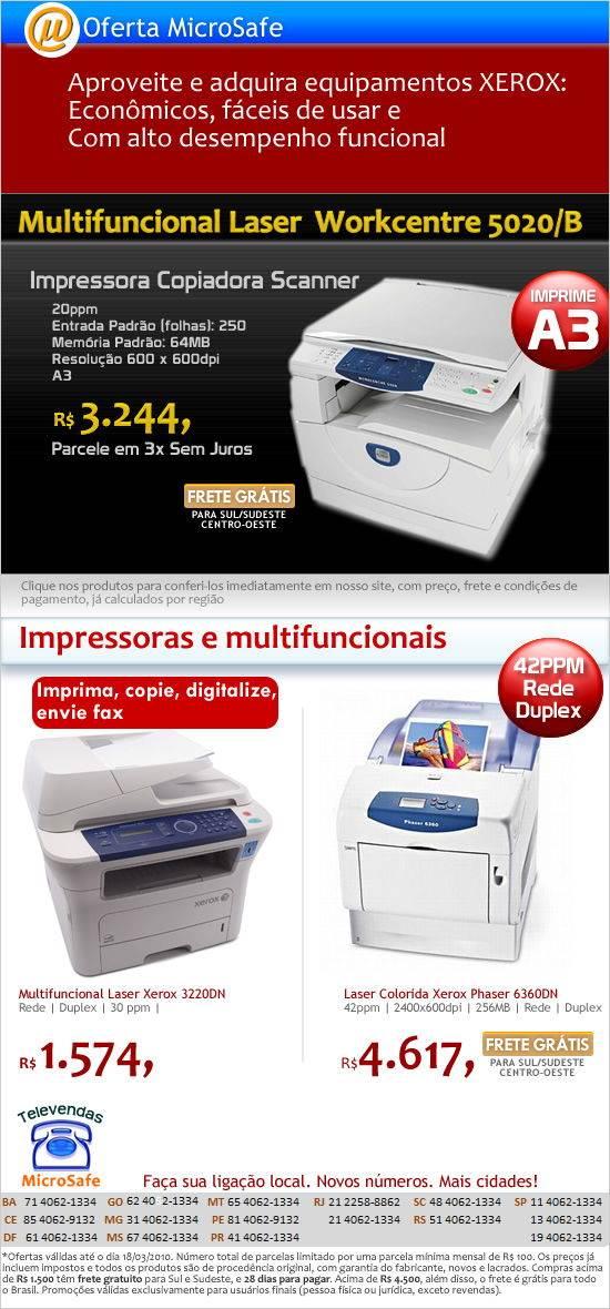 IOferta de impressora XEROX na MicroSafe!