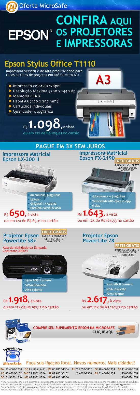 Impressoras e projetores Epson na MicroSafe!
