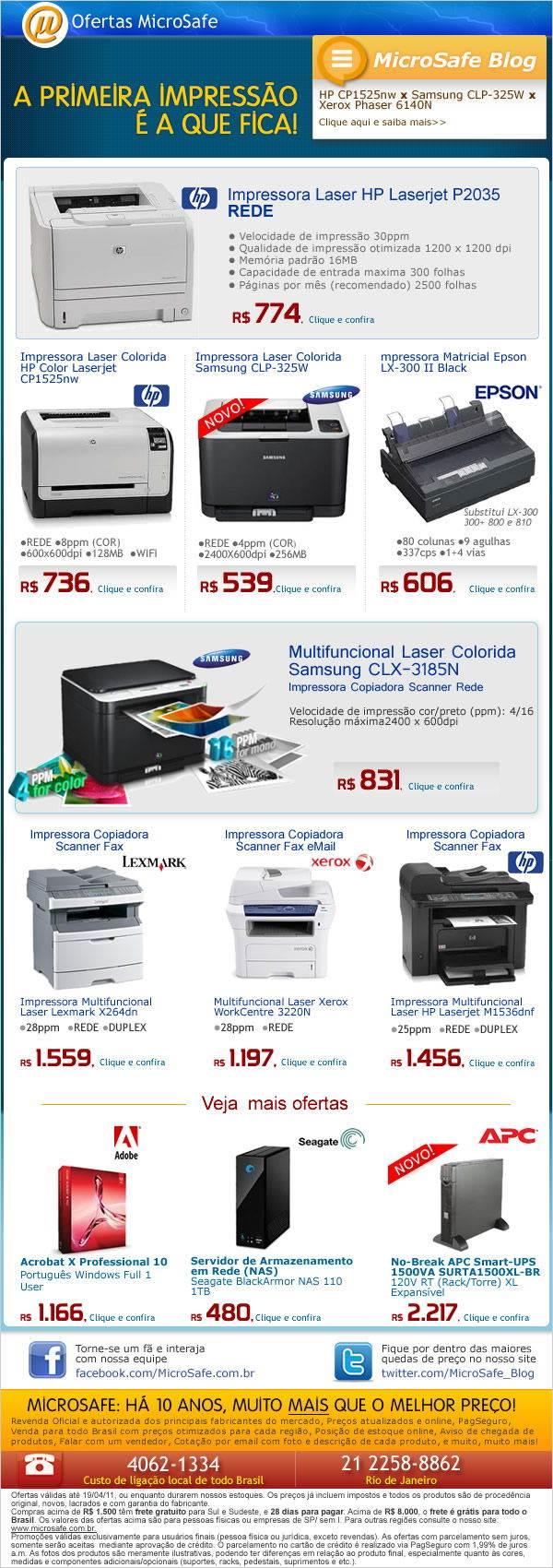 Imprima com qualidade. Seleção de impressoras na Microsafe!