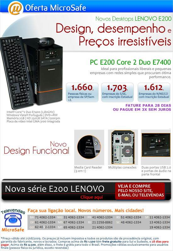 Novos desktops LENOVO