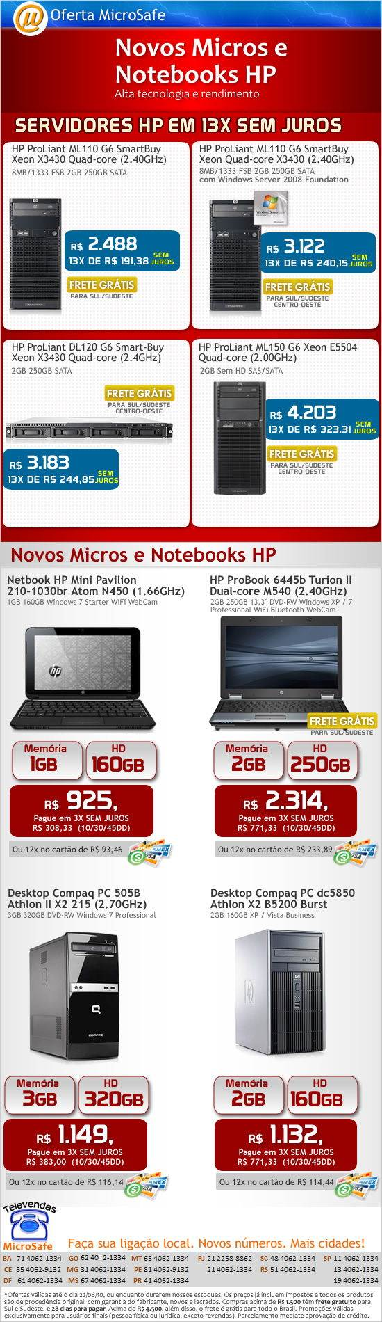 Novos Micros e Notebooks HP!
