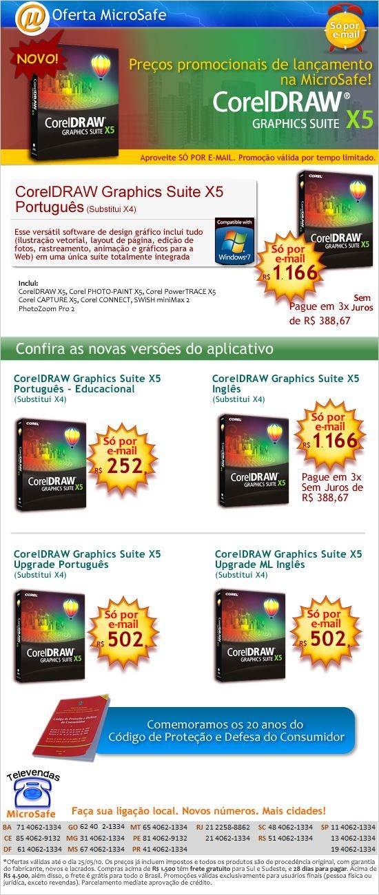 Novo CorelDraw X5 em oferta! Só por e-mail
