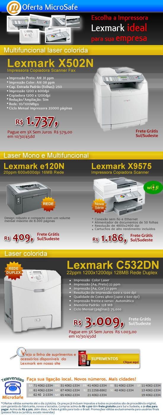 Impressoras e multifuncionais Lexmark
