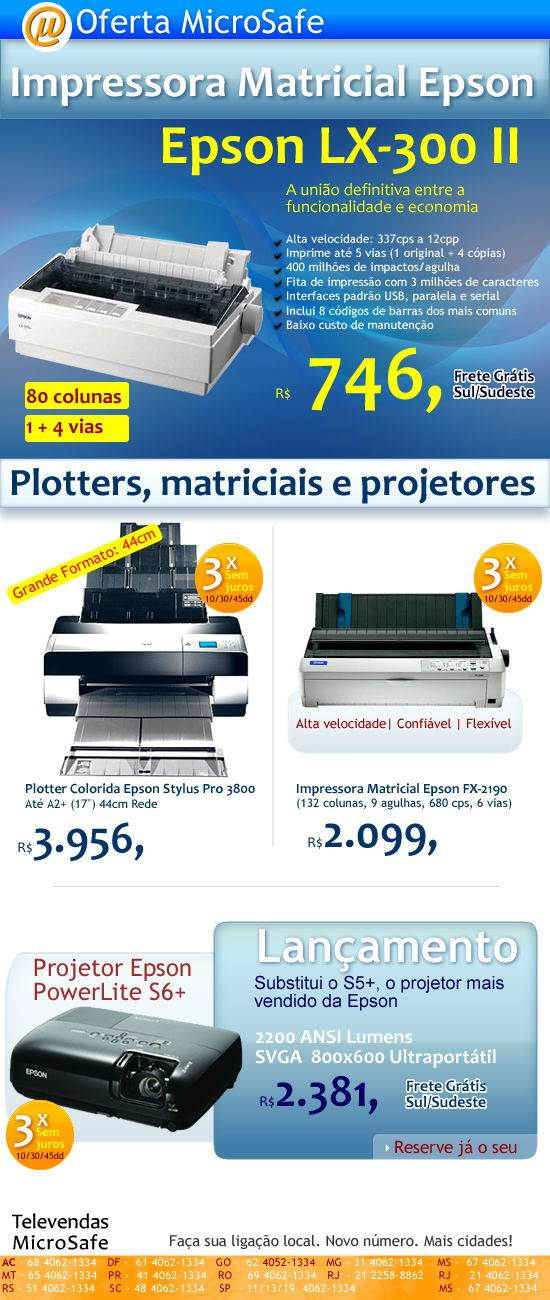 Impressora matricial Epson por R$ 746,