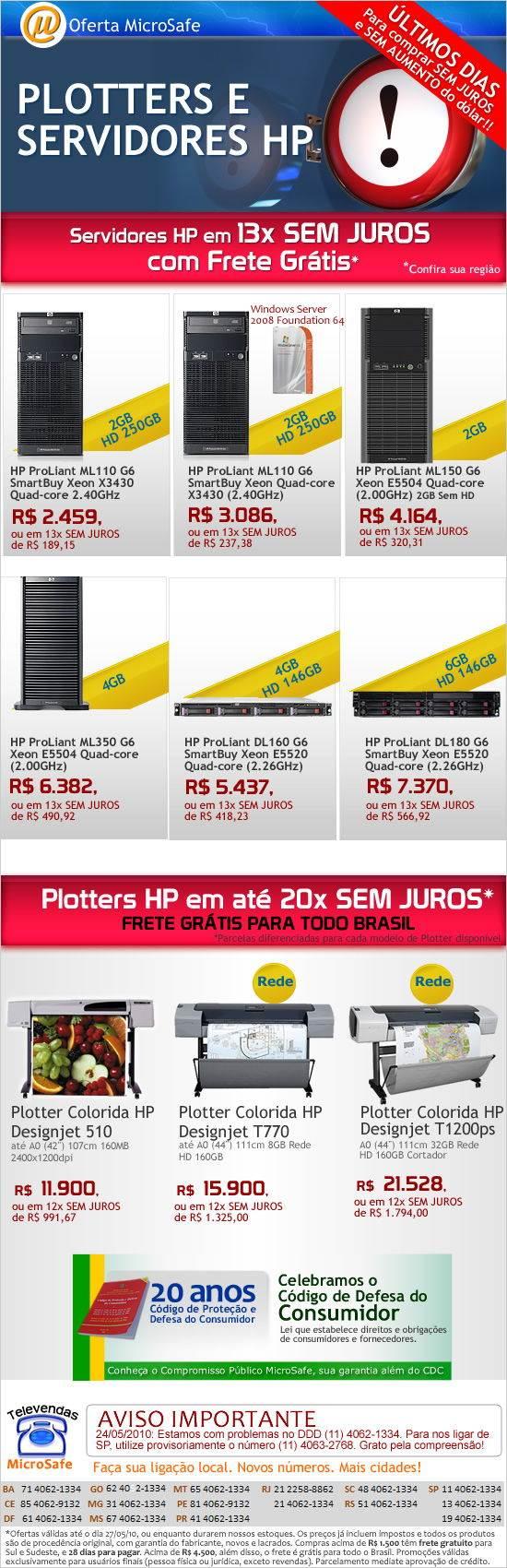 Últimos dias para comprar servidores e plotters HP SEM JUROS!