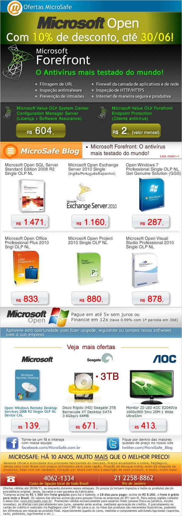 Microsoft Open com 10% de desconto.So ate 30 de junho