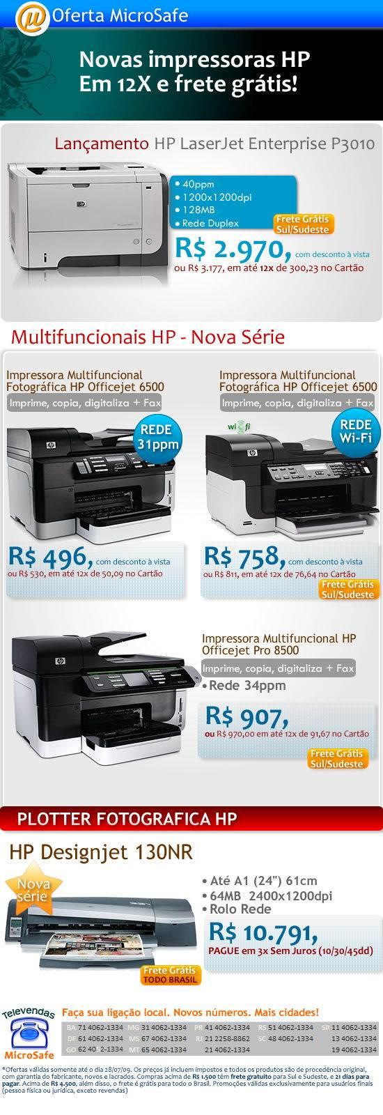 Impressoras multifuncionais hp em 12x no cartão