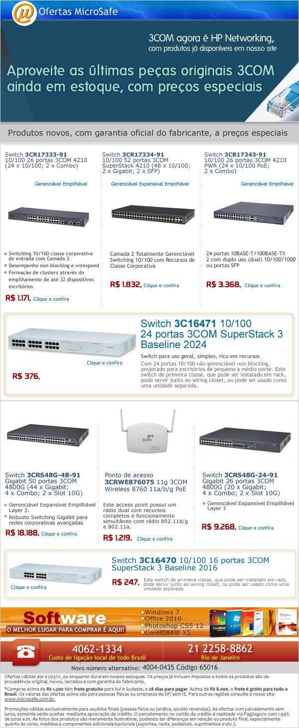 Na MicroSafe: Últimas peças originais 3Com com preços especiais!