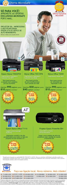 S� por e-mail: Impressoras, multifuncionais e projetores Epson