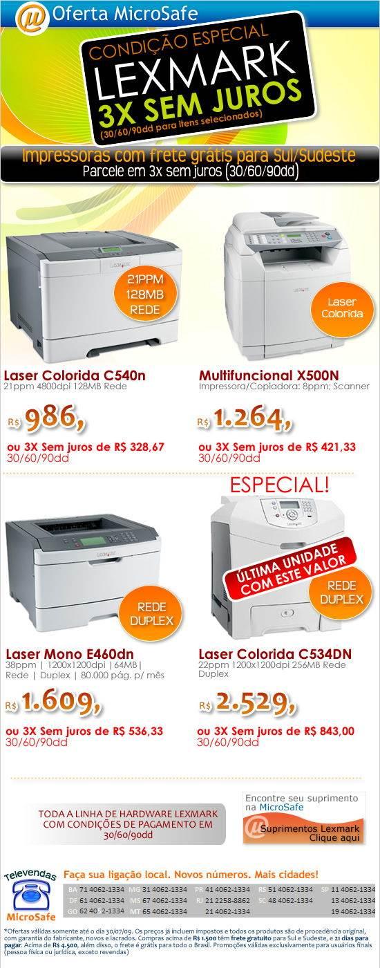Impressoras Lexmark em 3x SEM JUROS!