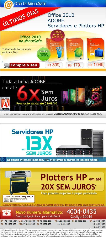 Aproveite as promoções de Office 2010_Adobe e Servidores e plotters HP só até agosto!