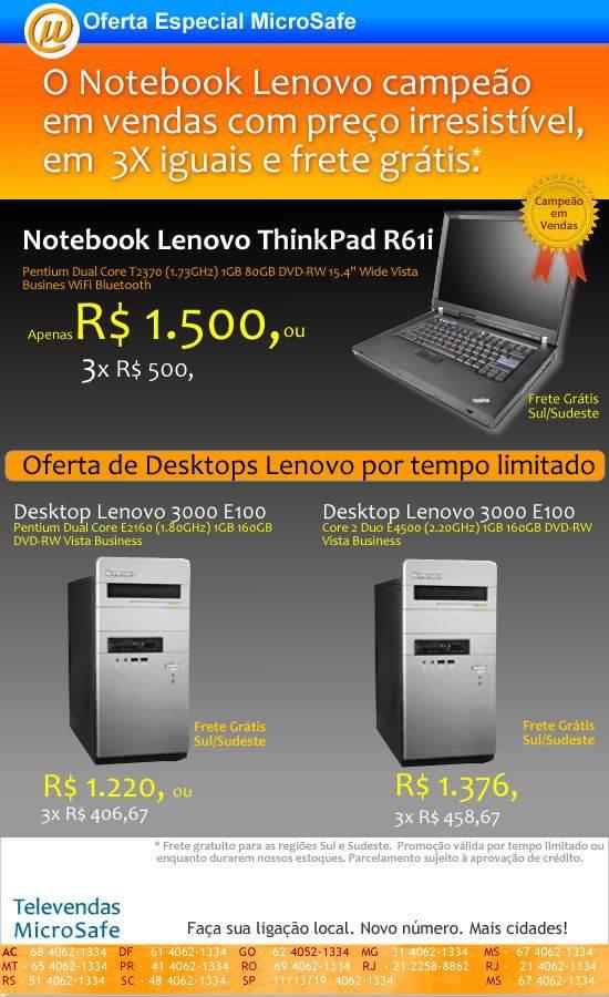 Notebook Lenovo campeão em vendas na MicroSafe