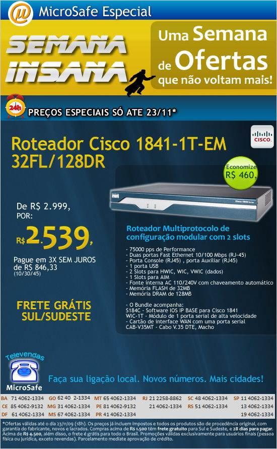 Semana Insana com roteador Cisco com desconto de R$ 460,