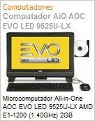 Microcomputador All-in-One AOC EVO LED 9525U-LX AMD E1-1200 (1.40GHz) 2GB 500GB 18,5 LED DVD-RW Linux Wi-Fi N WebCam Radeon 7310  (Figura somente ilustrativa, n�o representa o produto real)