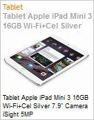 Tablet Apple iPad Mini 3 16GB Wi-Fi+Cel Silver 7.9 Camera iSight 5MP  (Figura somente ilustrativa, n�o representa o produto real)