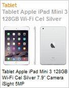 Tablet Apple iPad Mini 3 128GB Wi-Fi Cel Silver 7.9 Camera iSight 5MP  (Figura somente ilustrativa, n�o representa o produto real)